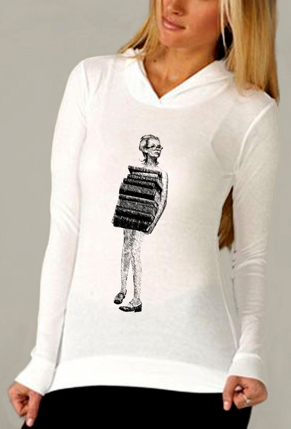 book shirt shirt - vintage design JUST BOOKS - women's white long sleeve thermal hoodie book t-shirt