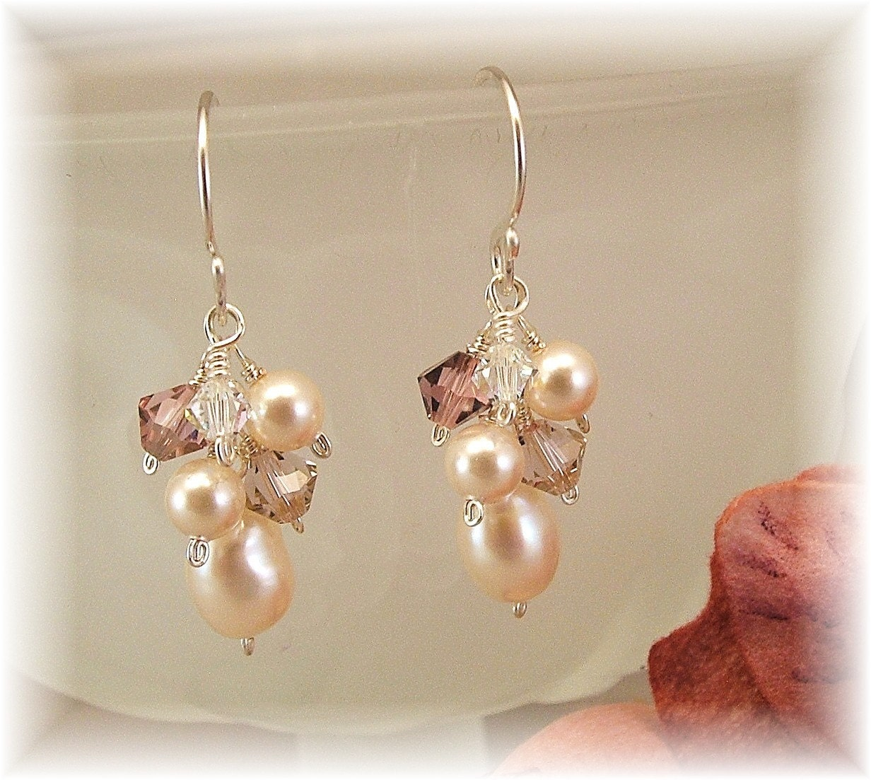 DUSTY ROSE BLEND   SWAROVSKI AUSTRIAN CRYSTAL AND by www.handwired.etsy.com from etsy.com