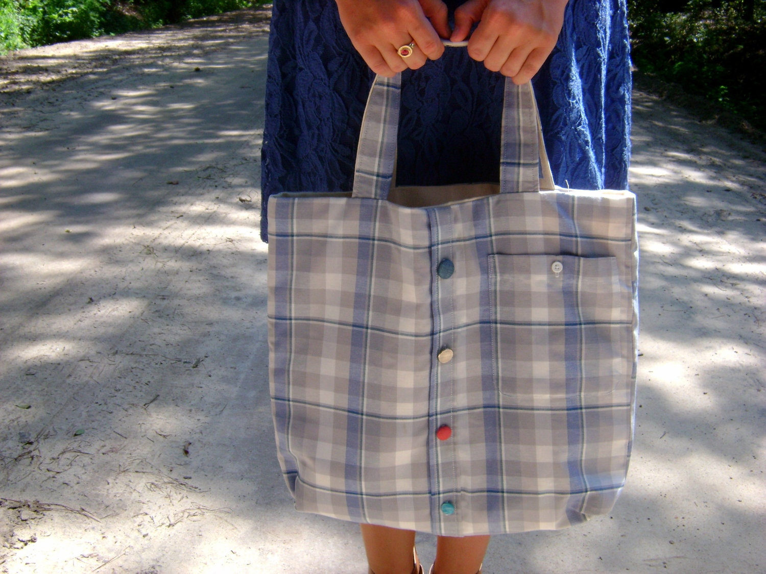 Blue, White and Grey Shirt Tote with Colored Buttons