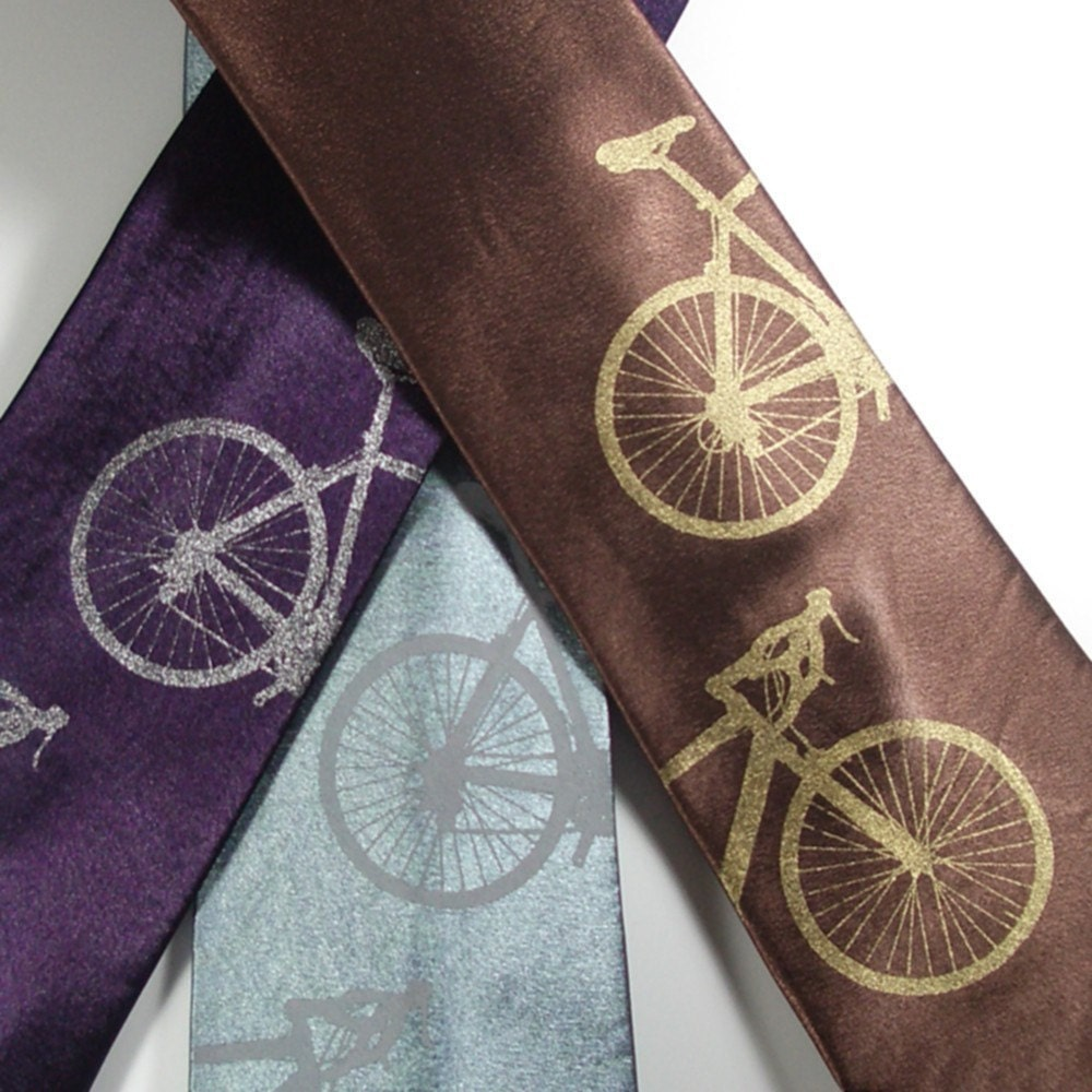 Bicyclette - hand screened bicycle silk necktie in three color choices, ready to ship