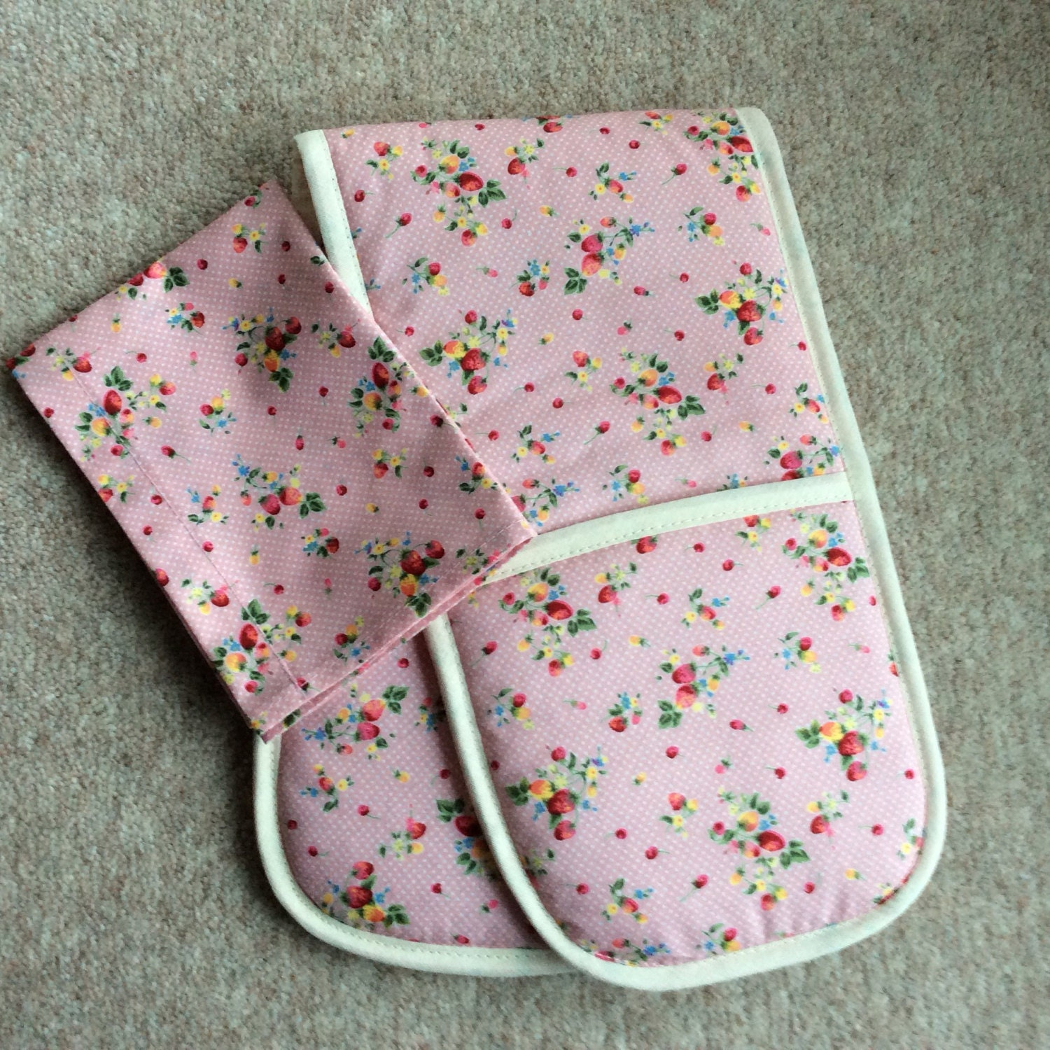 Toy Oven Glove and Tea Towel. Home corner toy kitchen. Dusky pink strawberries toddler gift.