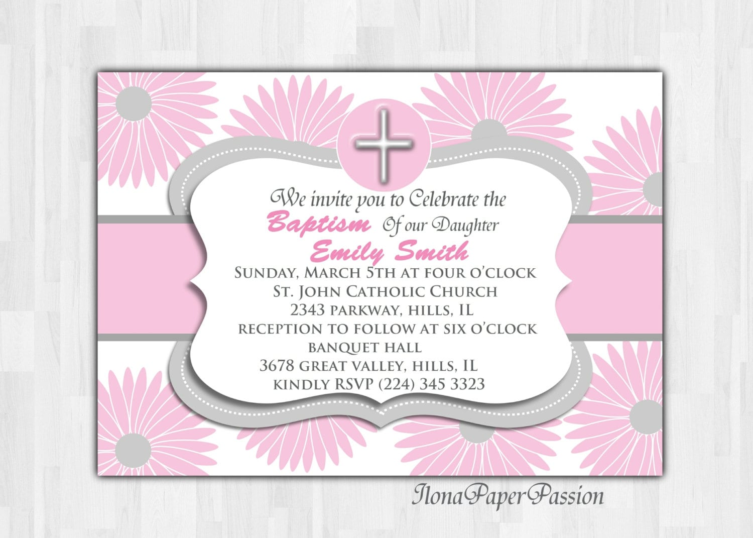 Baptism Invitation/Christening Invitation - IlonaPaperPassion
