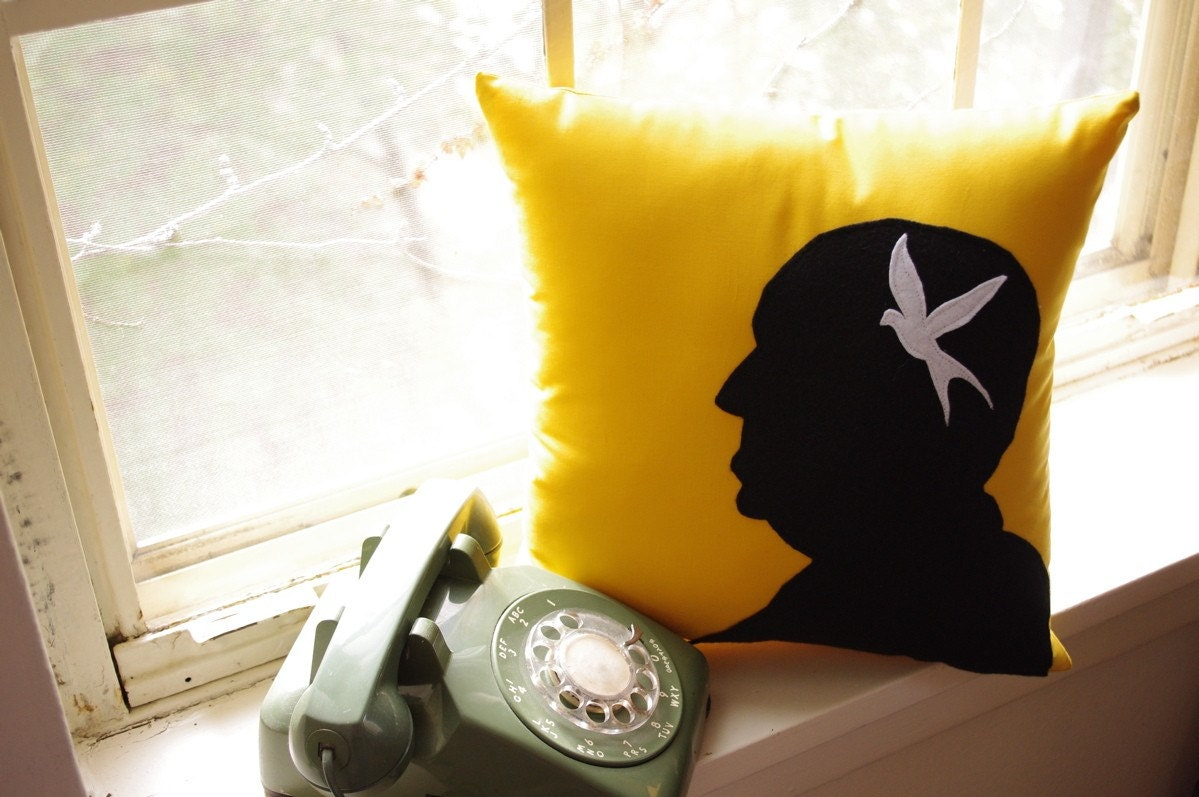 Alfred Hitchcock Silhouette Pillow on Goldenrod Fabric
