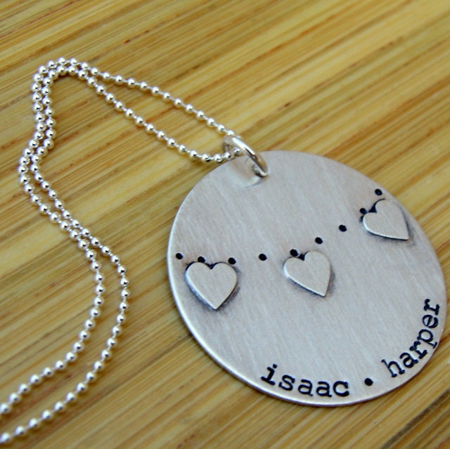 Hand Stamped Sterling Silver Bunting Banner Pennant Heart Necklace with names