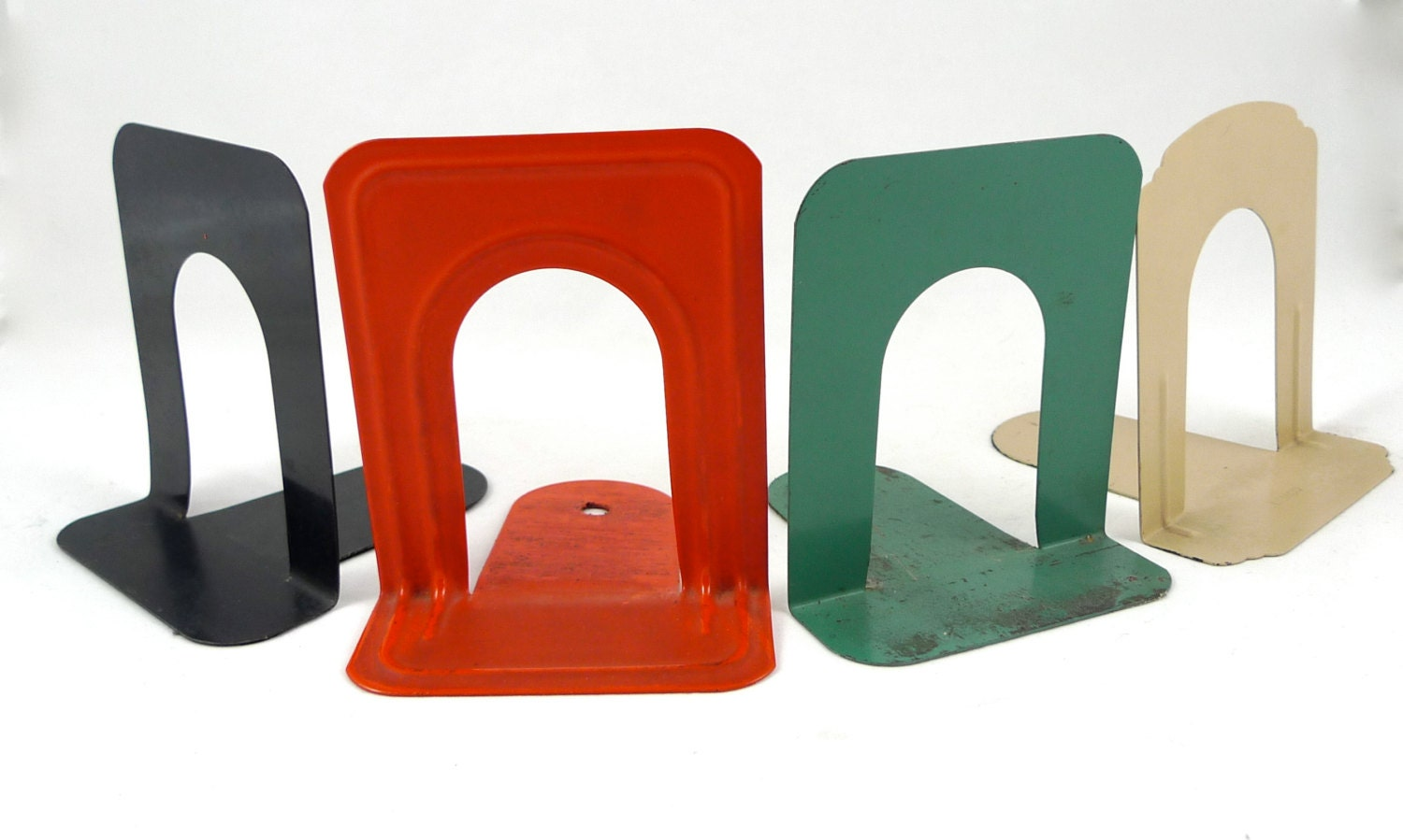 Vintage Industrial Library Bookends Assorted Set of 4 - Metal - fleavintage