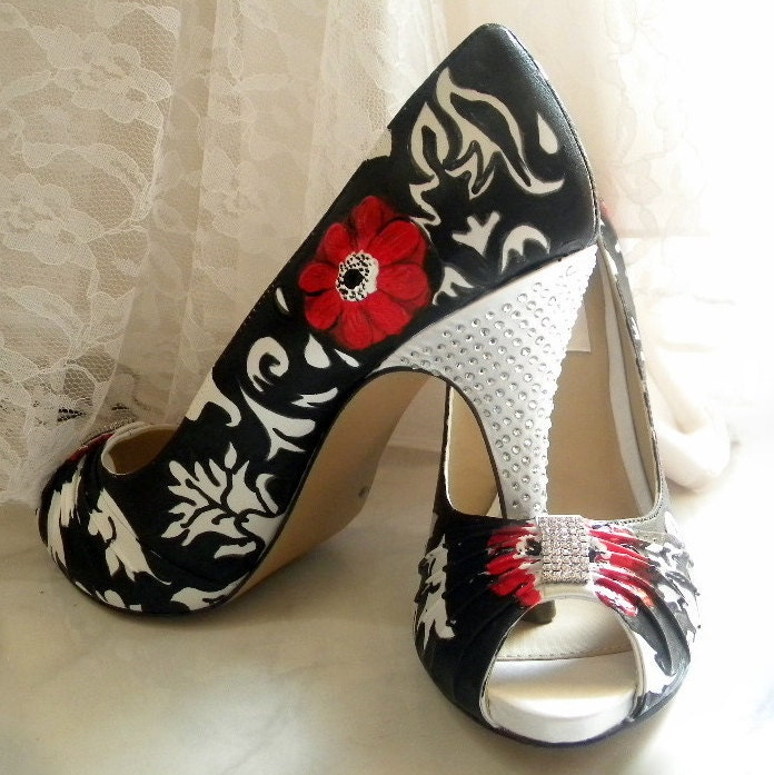 Wedding shoes painted damask red anemones crystals heels