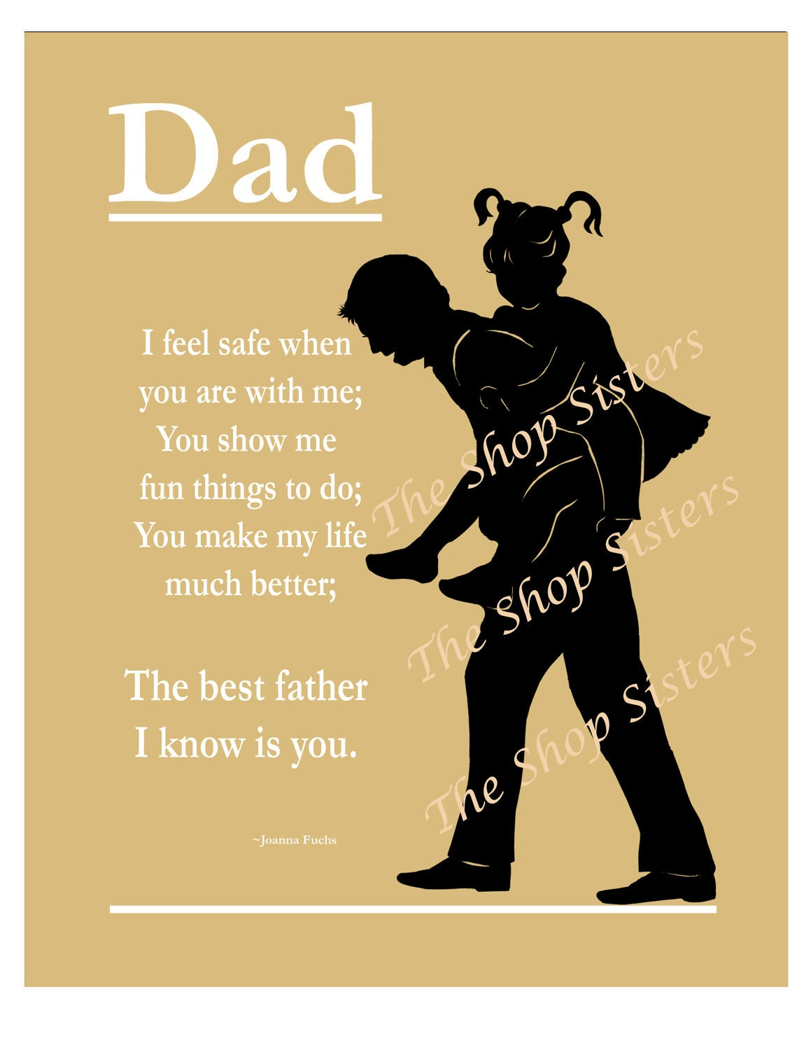 dad father daughter father 39 s day poem silhouette by