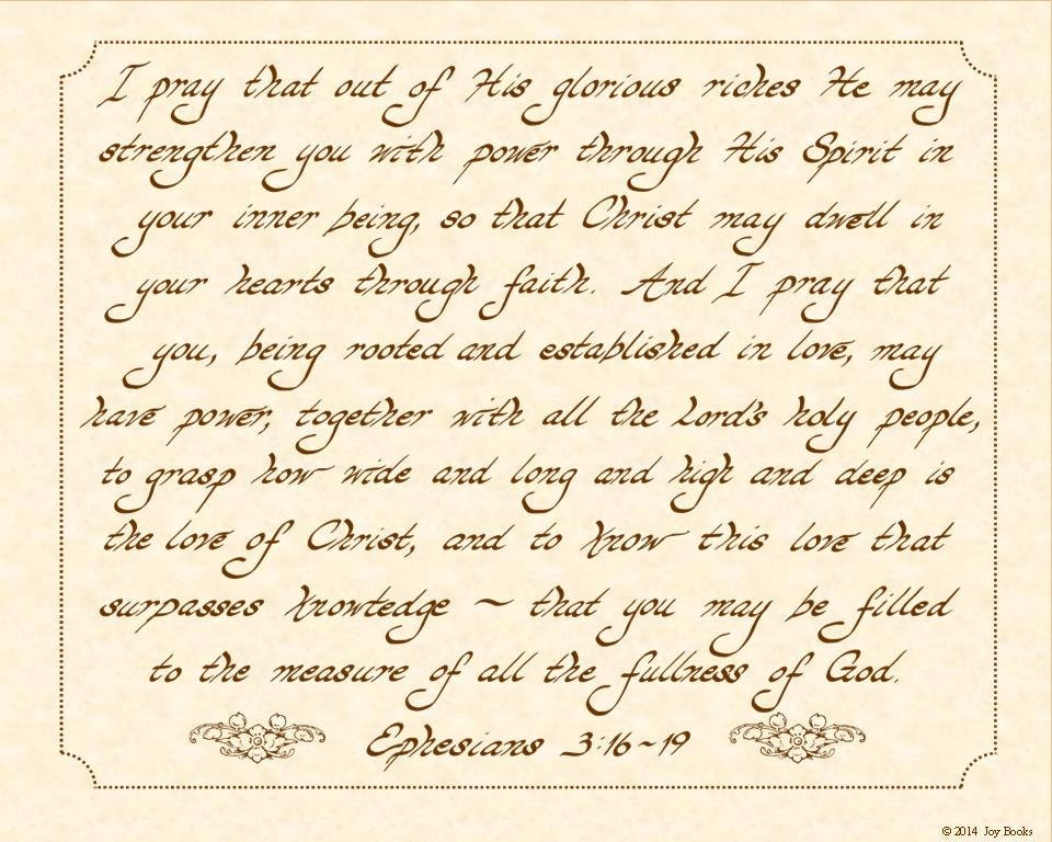 Ephesians 3 16 19 Niv 8 X 10 Hand Written By Vintageverses