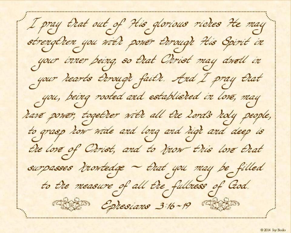 Ephesians 3 16 19 Niv 8 X 10 Hand Written By Vintageverses