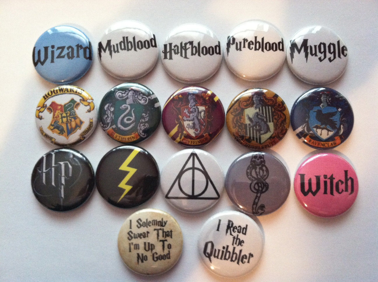 harry potter pins set of 6 by frostovision on etsy. Black Bedroom Furniture Sets. Home Design Ideas