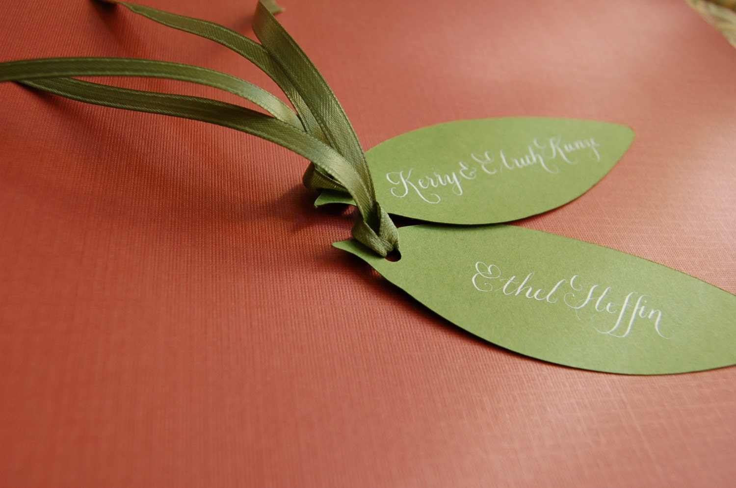 Leaf Place Cards with Hand Calligraphy