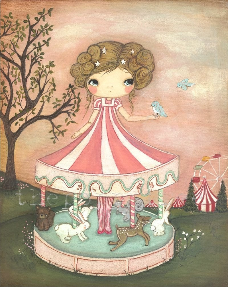 Merry Go Round Original Painting ------11 x 14