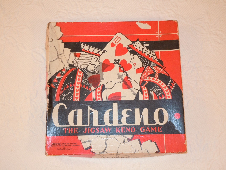 Vintage 1942 Cardeno Poker Keno Jigsaw Puzzle Game
