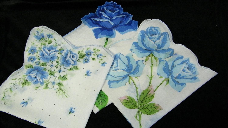 Vintage lot of 3 15 blue long stem roses by heirloomlinens for Blue long stem roses