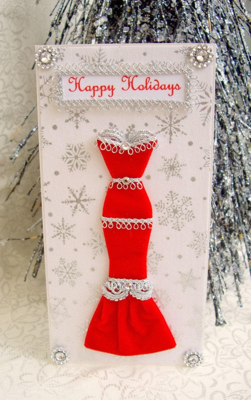 SALE Happy Holidays Personalised Red Velvet Dress Card / Handmade Greeting Card