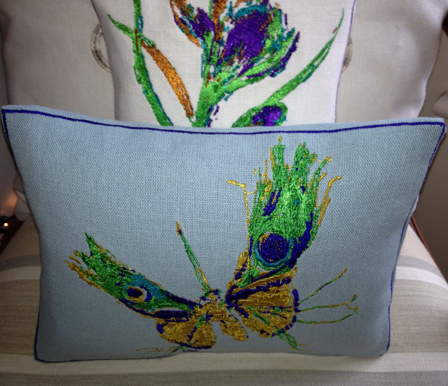 Artistic Embroidery Peacock Butterfly, Cushion Throw