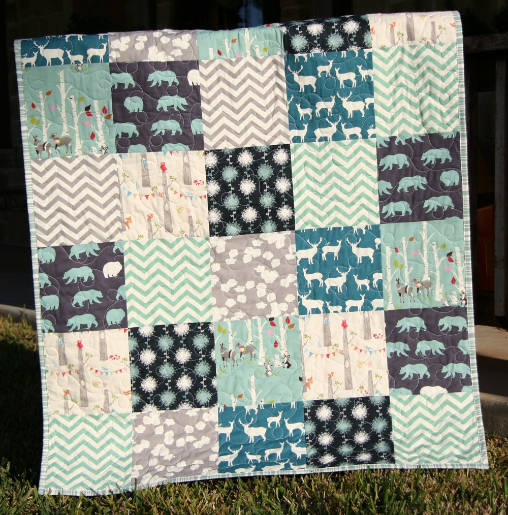 organic baby boy quilt blue teal grey gray by