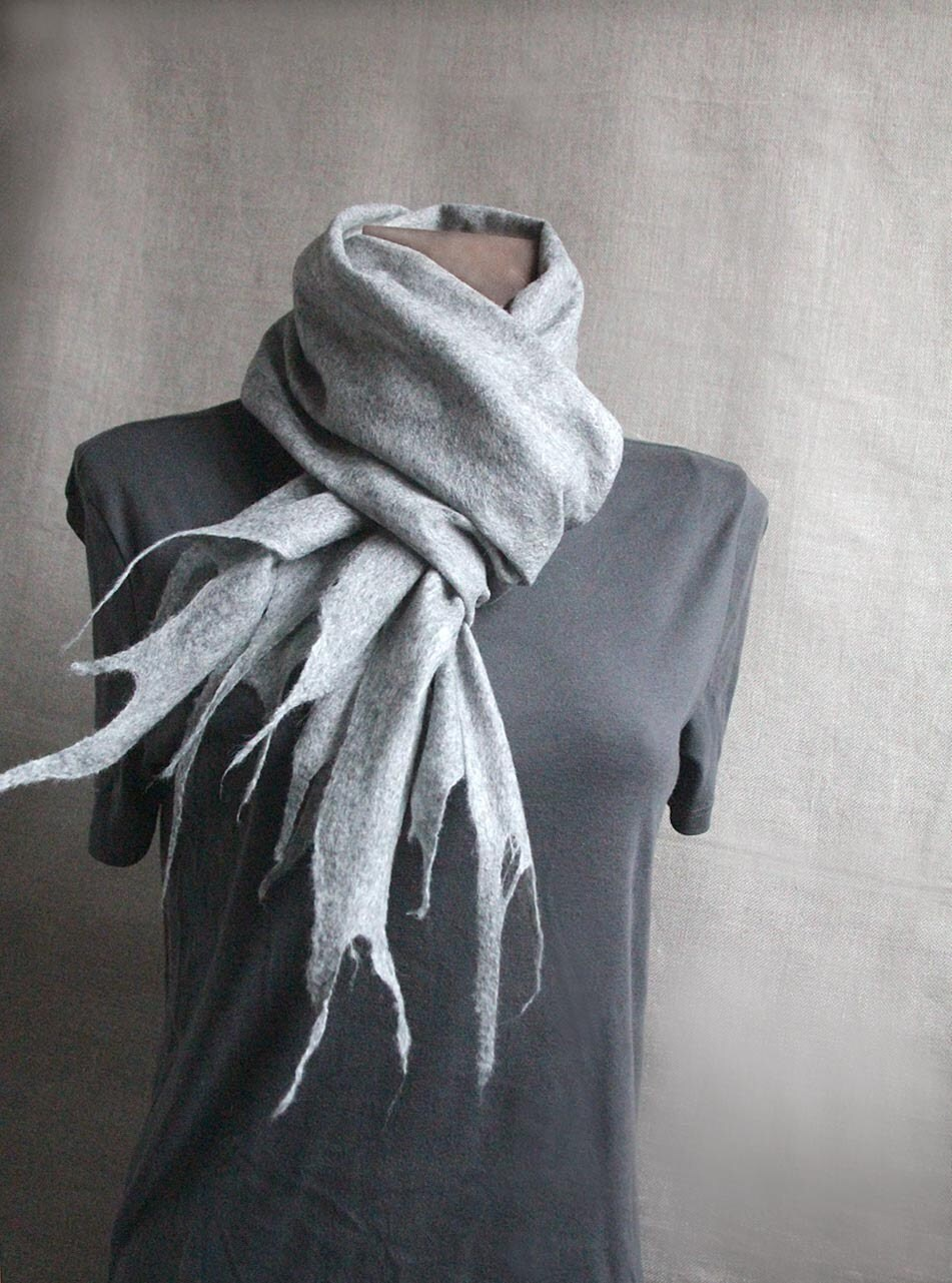 men wool felted scarf LIGHT GRAY winter felt scarf warm women men scarves - manonknits