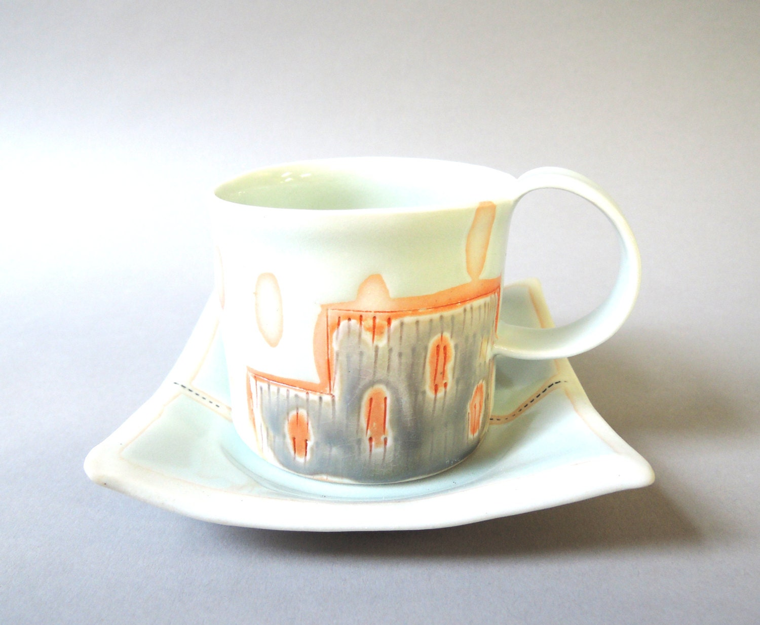 porcelain espresso cup with translucent bottom - stepanka