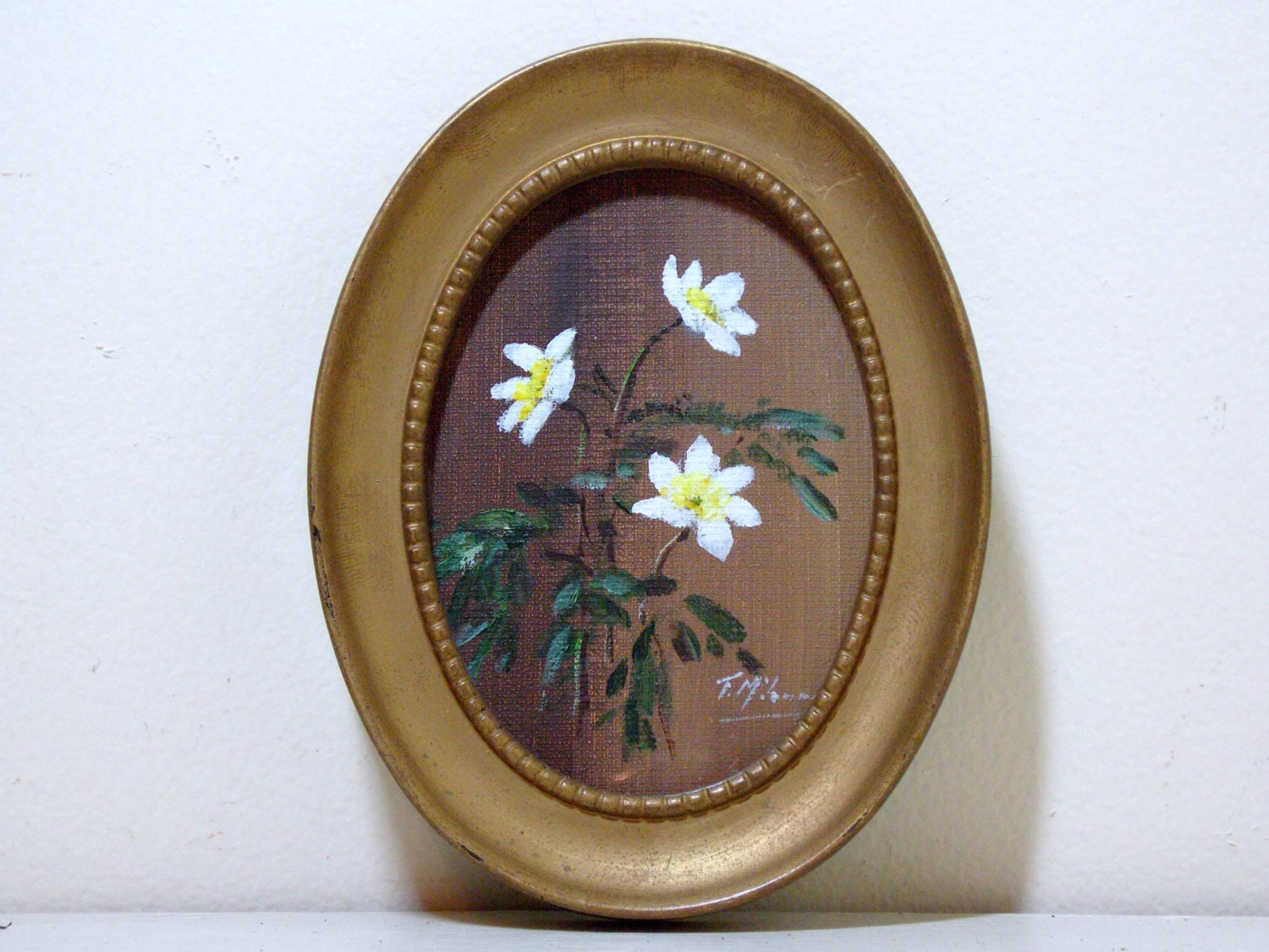 Small Floral Painting in Gold Oval Frame Signed - FoundForYou