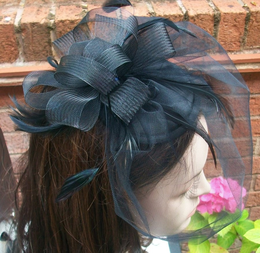 Black Fascinator Black Cocktail Hat with Veil Black Fascinator Hat with Black Feathers Handmade Black Fascinator Headband
