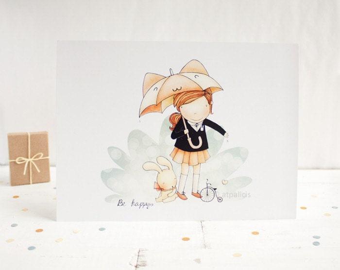 Be happy - 8x6 cute art print