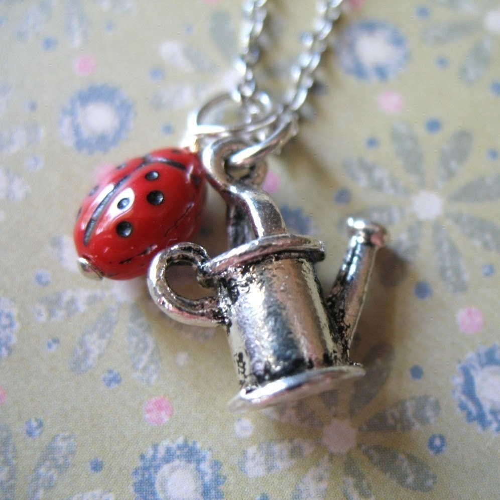 Watering can charm necklace