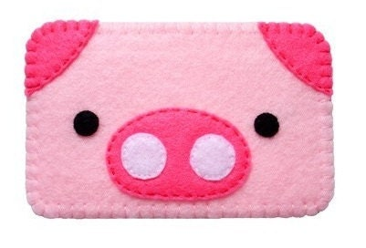 Cute felt piggy cell phone case