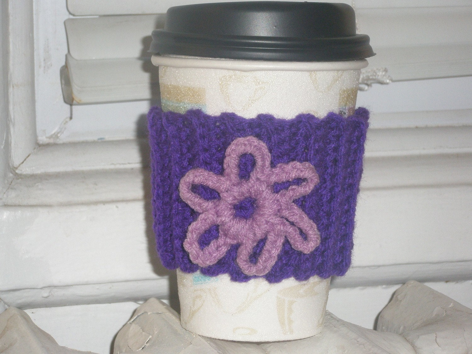 Handmade Crocheted Cup sleeve in Dark Purple with Light purple flower