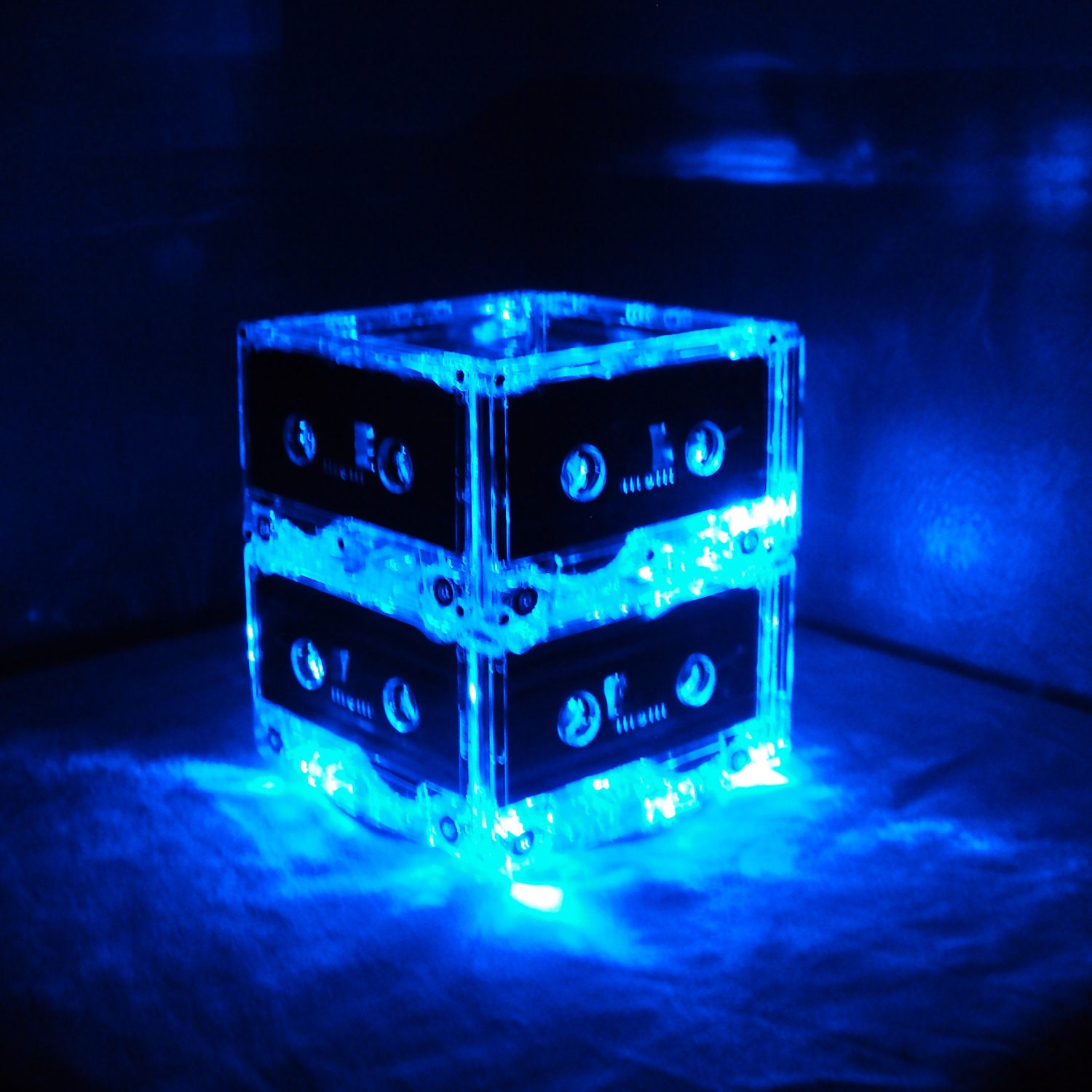 Set of blue mixtape cassette tape lighted wedding table