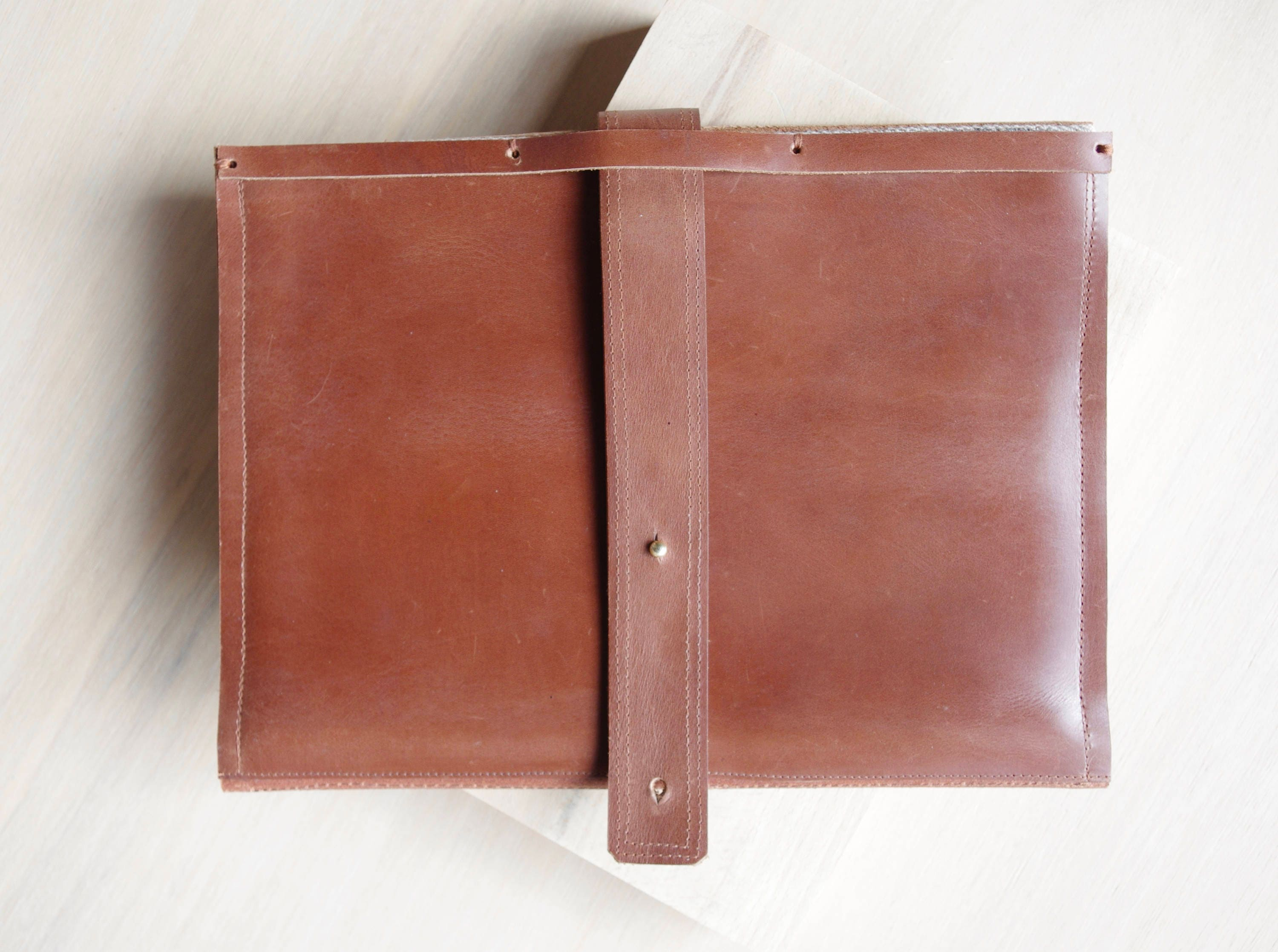 Handmade Brown Leather Portfolio iPad Sleeve and A4 NotePadDocument or Business Folder