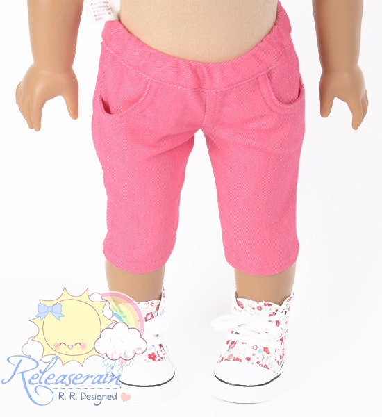 "Doll Clothes Outfit Elastic Banded Waist Cherry Pink Denim Capri Jeans Pants for 18"" American Girl dolls"