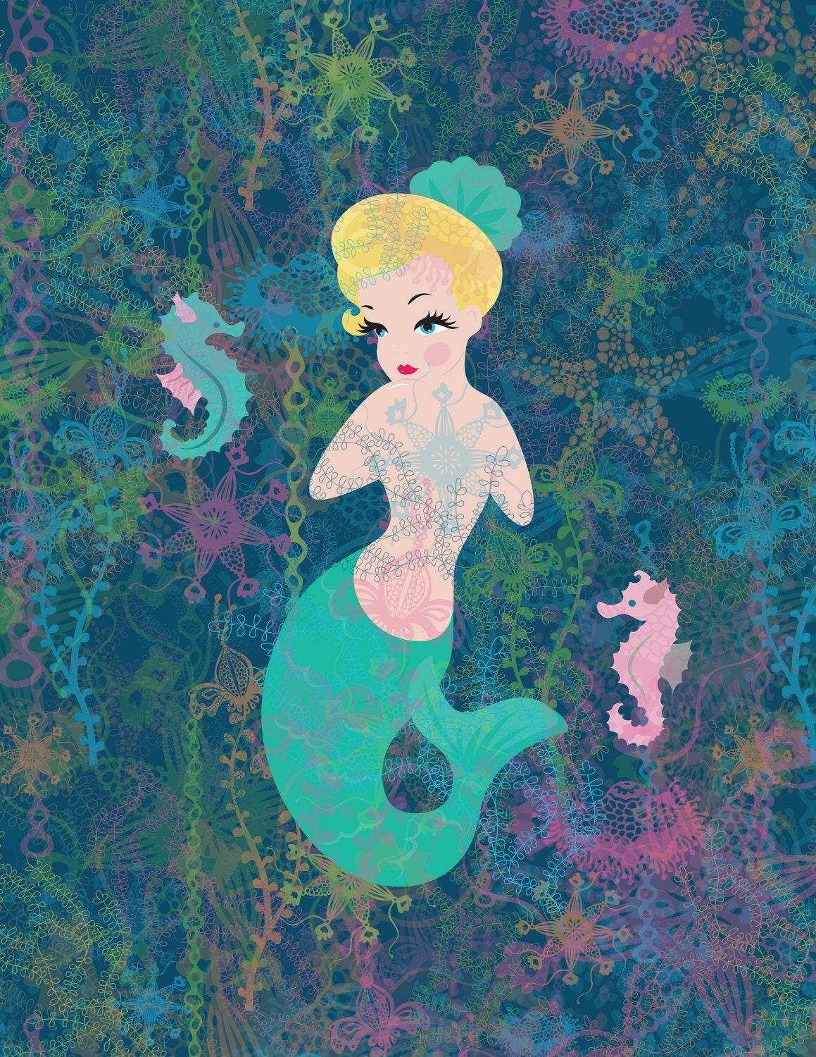 ModPets originals Kitsch Marilyn Mermaid 8 x11 ready to frame Art  Print