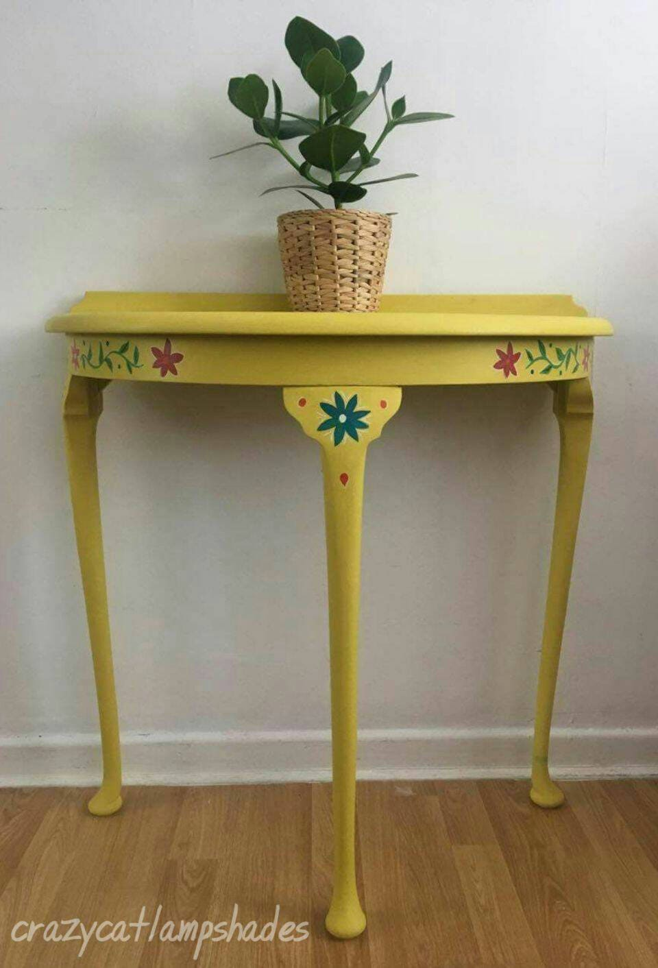 Half moon hand painted console table