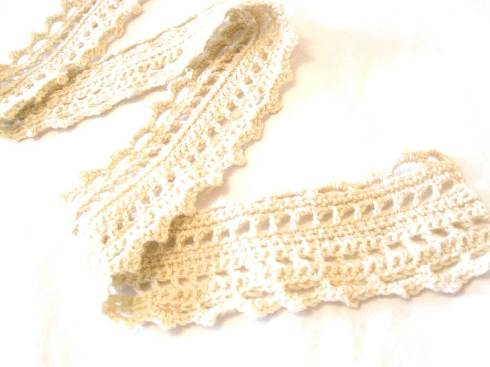 crochet lace scarf in light wool for women and teens - creamy, cottage white, soft, all natural fibers - ready to ship - BaruchsLullaby