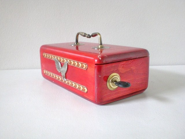 vintage jewelry box lock and key made by