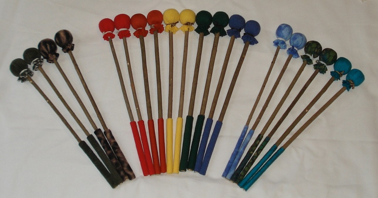 Handmade Drum Mallets - set of two- choose any color