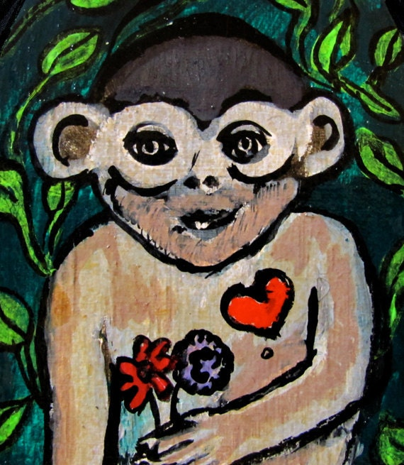 Small Original Painting on Wood Humor Monkey with Heart and Flowers