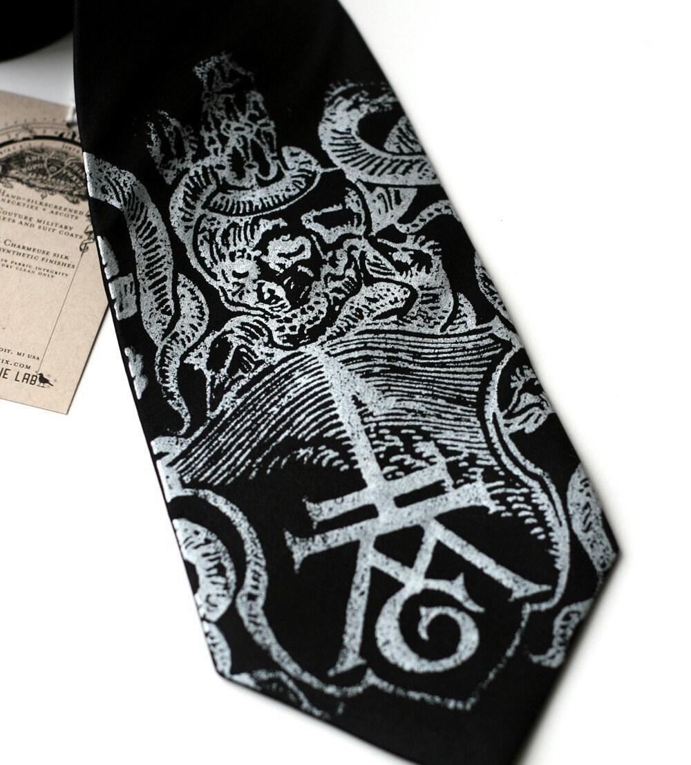 Book Imprint screenprinted necktie, Ex Libris, silver on black silk