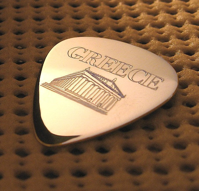 Sterling Silver Greek Greece Parthenon Guitar Pick Personalized with a message of your choice on the back. Made with love and care