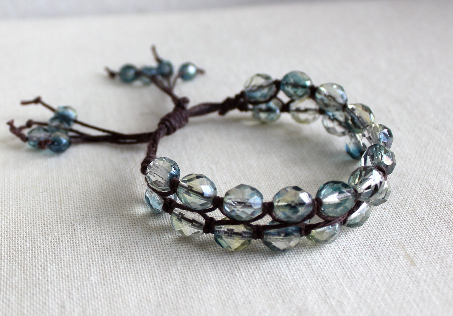 Ocean Blues Crystal Bracelet on Brown Cord/ Adjustable - kellyevansdesign