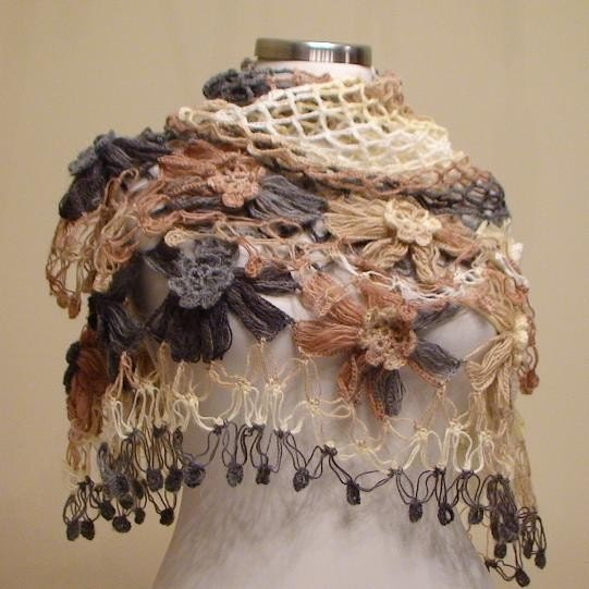 Flower Mohair Triangle Shawl