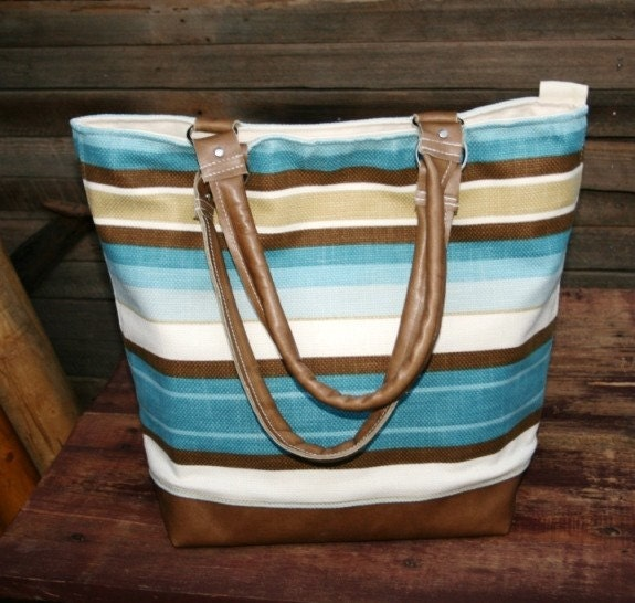 Leather and Cotton Canvas Tote Blue Tan and Creme Stripes