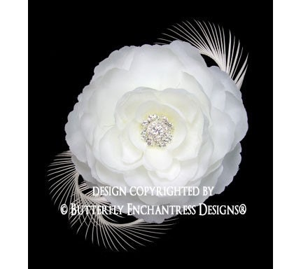 HOLIDAY SALE Rhinestone Diamond White English Rose Flower & Feather Hair Clip