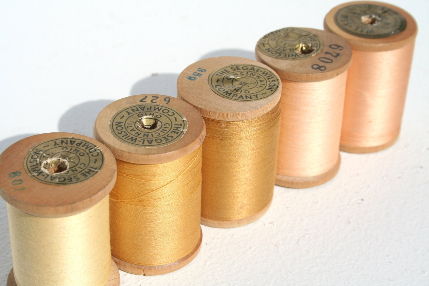Antique Sewing Thread on Wooden Spools Yellow Collection