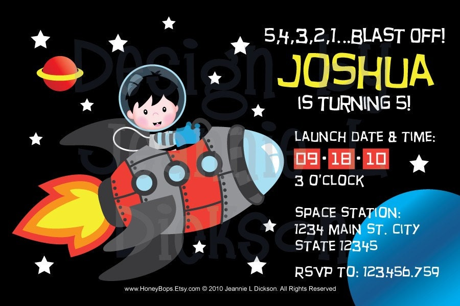 DIY Rocketship / Spaceship Custom Invitation - Custom Printable - PDF