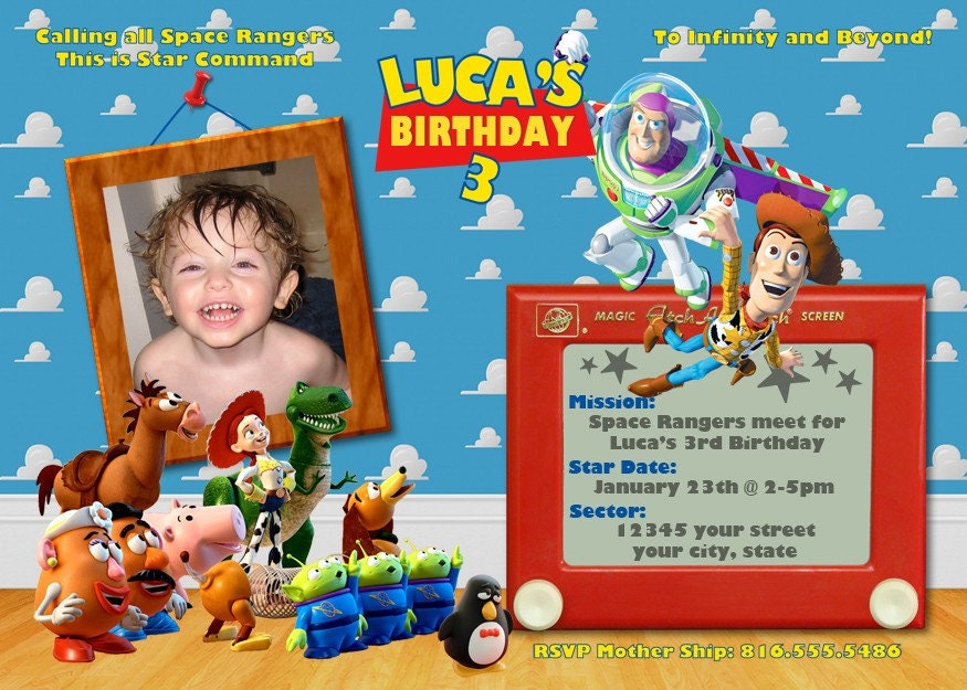 Toy story birthday invitation for Toy story invites templates free