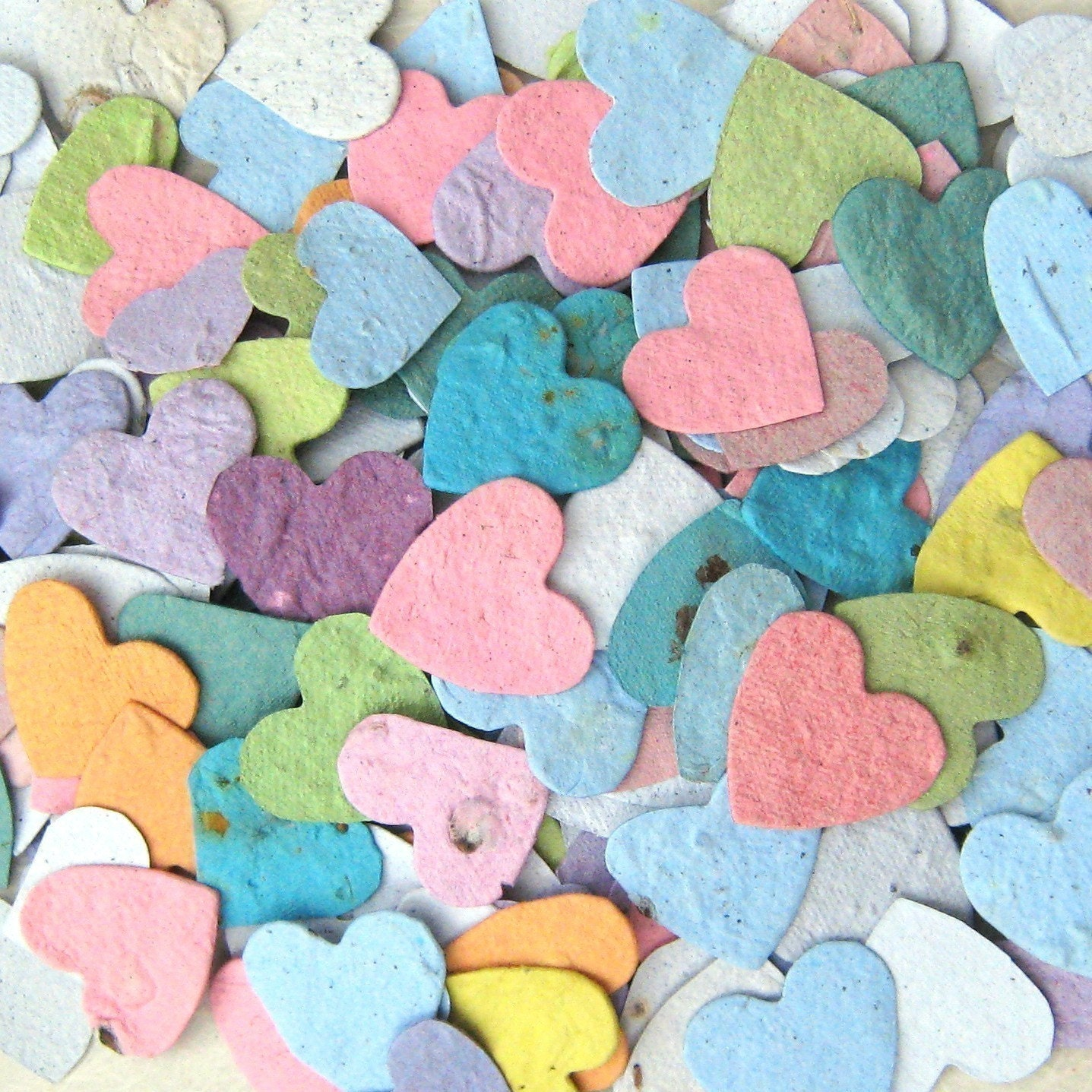 200 CUSTOM COLORS - Plantable Hearts - Handmade Paper with Flower Seeds - Assorted and Custom Color Options