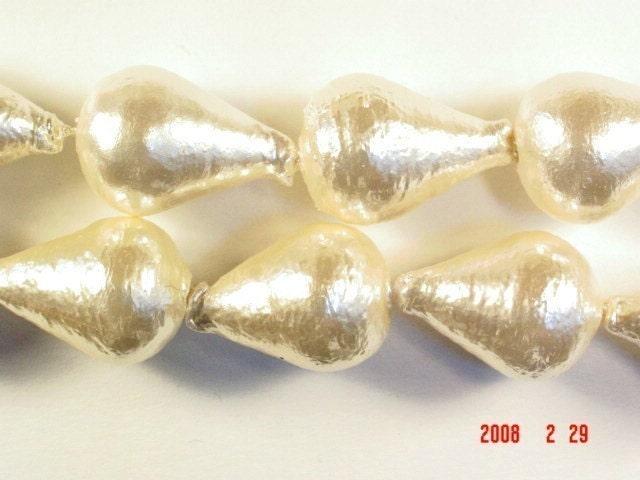 Vintage Japan - RARE - Cotton Pearls - Teardrop 22 x 13 - CP17