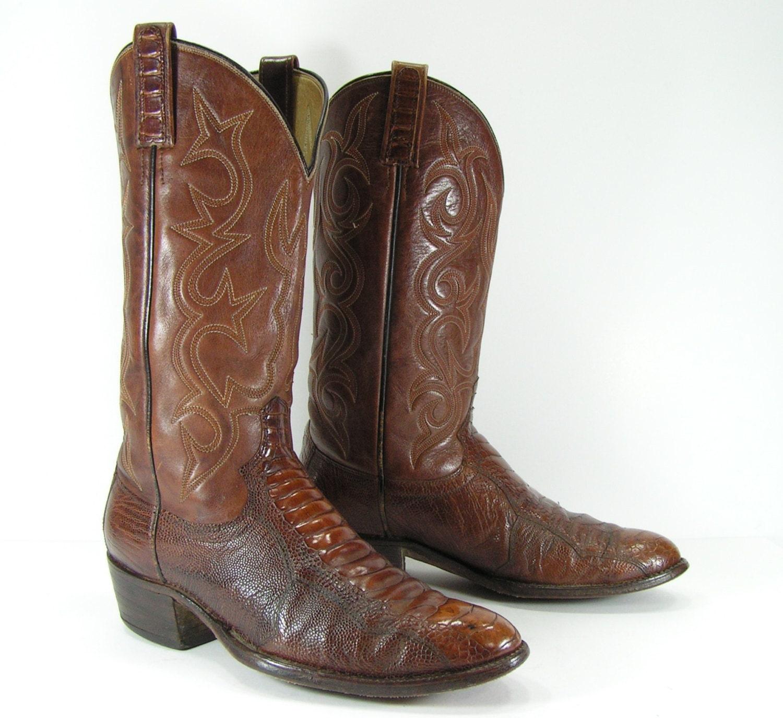 vintage cowboy boots womens 10 m ostrich leg by